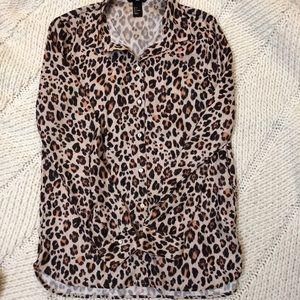 EUC H&M size 4 leopard button up blouse.
